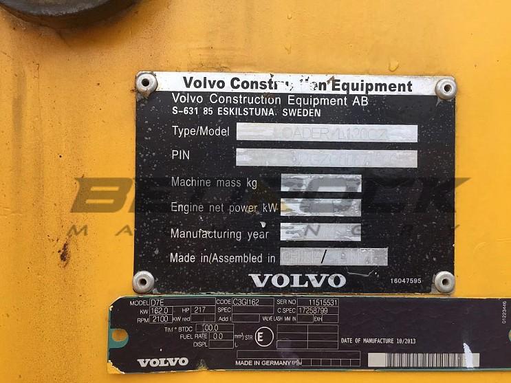 2014 Year Volvo Wheel Loader L120Gz, 4800 Hours